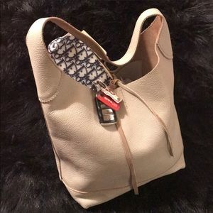 🚨J. Crew Leather Downing Hobo Bag Light Grey